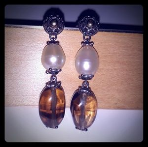 John Hardy SS/18k Smokey Quartz & Pearl Earrings